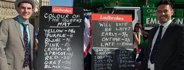 Ladbrokes Quoten für die Hochzeit von Prinz William von Wales und Kate Middleton