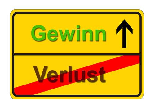 Verkehrszeichen zeigt Gewinn und Verlust
