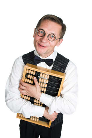 Geeky office clerk holding abacus close to his heart