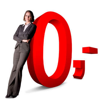 Woman leaning on a big fat zero sign
