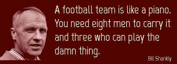 Teamwork Quote: A football team is like a piano; you need eight men to carry it and three who can play the damn thing