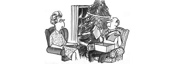 Cartoon: Old people exchange Xmas gifts