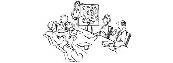 Cartoon: Boss introduces complicated diagram to workers / Boss zeigt kompliziertes Diagramm seinen Arbeitern
