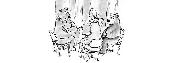 Cartoon: Therapist conducts meeting of bears in the woods / Therapeut leitet Sitzung mit Bären im Wald