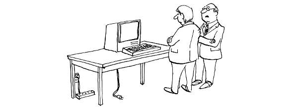 Cartoon: Colleagues discuss broken computer / Kollegen diskutieren kaputten Computer