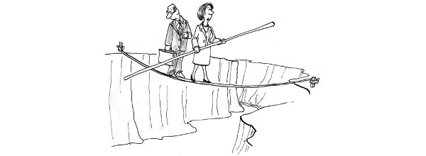 Cartoon: man and woman balancing over a canyon on a rope