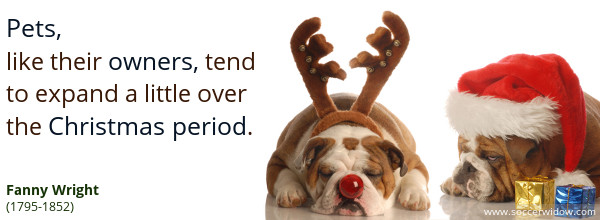 Christmas Quote: Pets, like their owners, tend to expand a little over the Christmas period - Fanny Wright