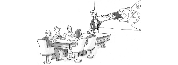 Cartoon: Business meeting with wall display: sharks eating other sharks