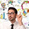 Businessman with new creative idea / Geschäftsmann mit neuen kreativen Idee
