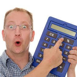funny man with calculator