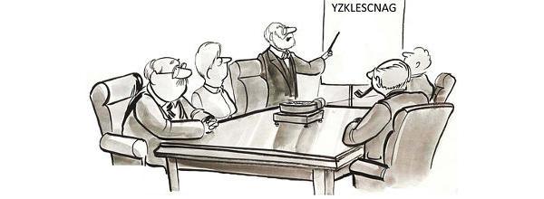 Cartoon: Group looking at a whiteboard with very strange word on it / Karikatur: Gruppe vor einem Whiteboard mit einem sehr seltsamem Wort