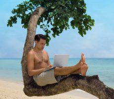 Attractive man with laptop seated in a tree on a tropical beach / Mann mit Laptop auf einem Baum in den Tropen