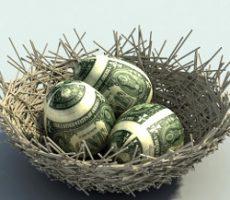 Nest Egg metaphor with three eggs mapped with dollar bills / Notgroschen Metapher mit drei Eier als Dollarscheine