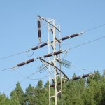Pylon tower in the forest of the Teno Alto montain range in Tenerife