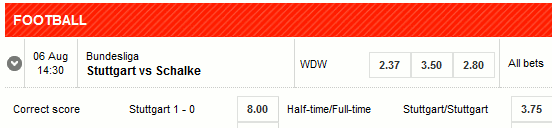 German Bundesliga Match Betting - Stuttgart vs. Schalke