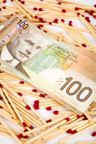 Canadian Dollar laying on pile of matches