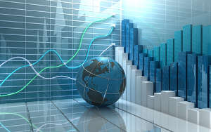 Stock market concept - globe with charts in background