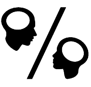 Man and woman heads shown as percent sign