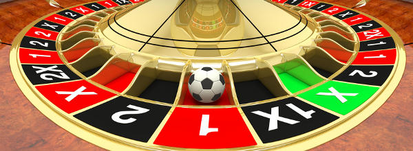 Close up of roulette wheel with football instead ball