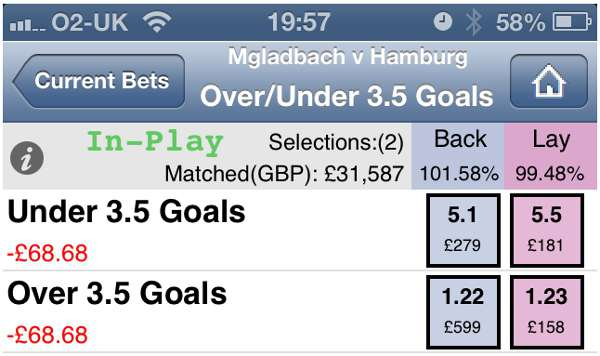 Football Betting - Betfair Mobile Phone App Screenshot