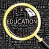 Magnifying glass over many words highlighting Education / Lupe über viele Wörter mit Education (Bildung) hervorgehoben