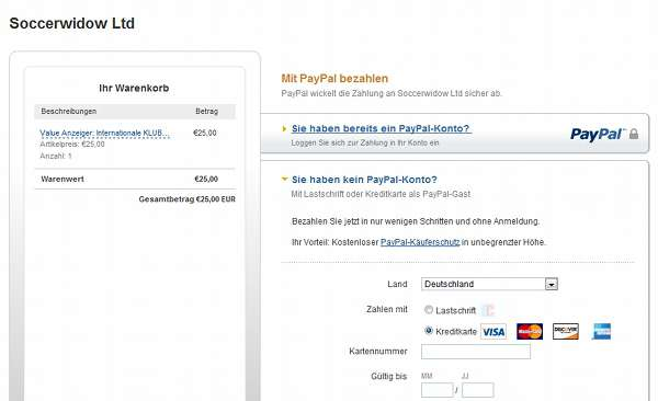 PayPal Check-Out Screen