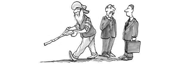 Cartoon: Businessmen look on as old timer uses divining rod
