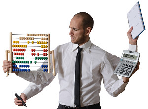 Man with 4 arms and juggling with calculator, abacus, note pad and pen