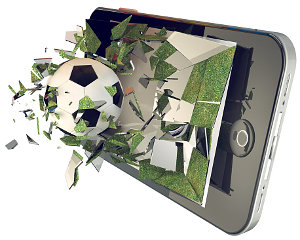 Soccer ball on cell phone; broken glass mobile phone