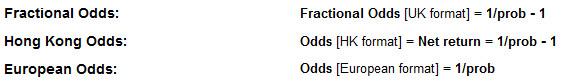 Probabilities into Odds - fractional odds, decimal odds, HK odds