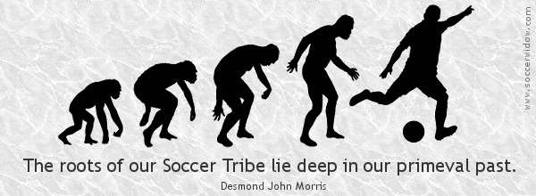 Stages in the descent of man from ape, through to Neanderthal, and finally into a footballer - Soccer Quote: The roots of our Soccer Tribe lie deep in our primeval past - Desmond John Morris