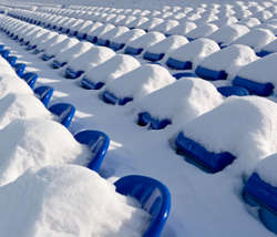 Football stadium after a strong snowfall
