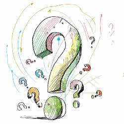 Many drawn question marks