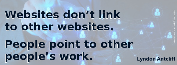 SEO Quote - Link Building: Websites dont link to other websites. People point to other peoples work - Lyndon Antcliff