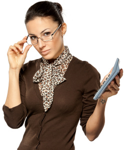 Business woman holding calculator