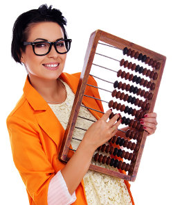 Sexy female teacher with abacus