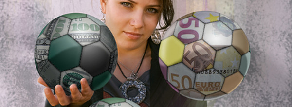 Young woman juggling balls made of bank notes