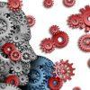 Heads as gears and cogs shaped exchanging ideas / Köpfe geformt als Zahnräder im Austausch von Ideen