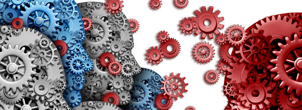 Heads as gears and cogs shaped exchanging ideas