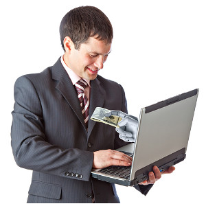Man receives money from hand within laptop screen
