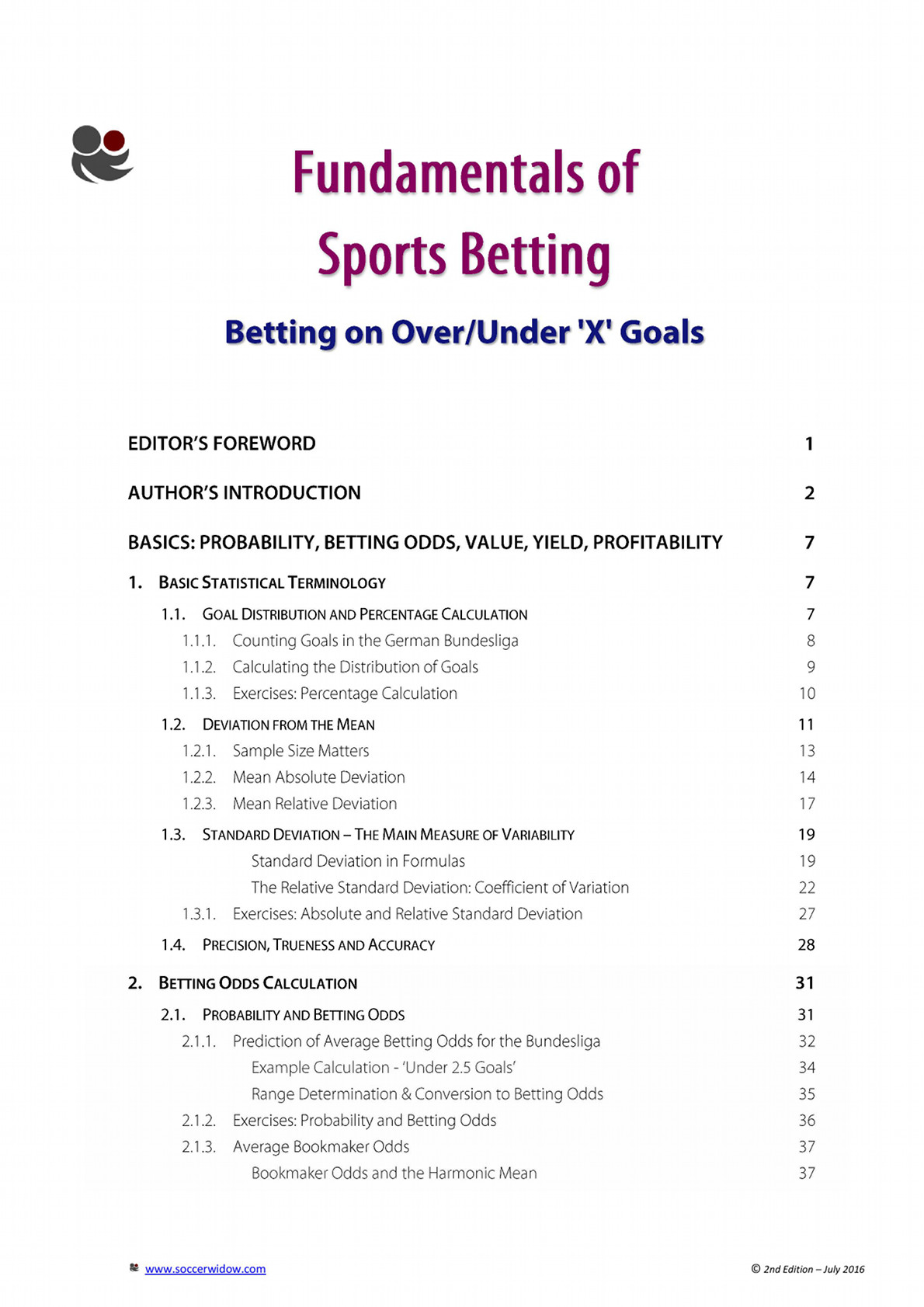 Betting Course Over Under - Table of Contents - page 1