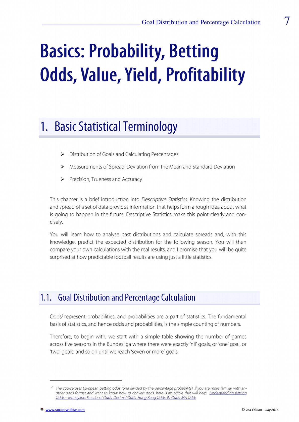 Betting Course Over Under - basic statistical terminology