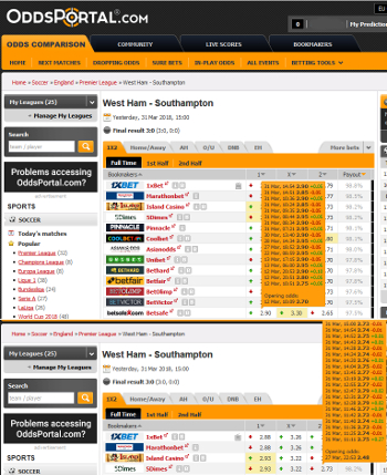 Oddsportal Ante Post Odds Composite Screenshot - West Ham vs. Southampton 31/03/2018