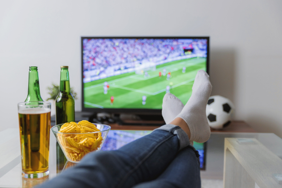 Feet Up, Watching Soccer on TV